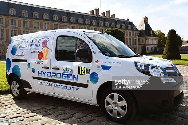 An hydrogen Renault car is on display ahead of the start of the first edition of the eRallye MonteCarlo outside of the Fontainebleau castle in...