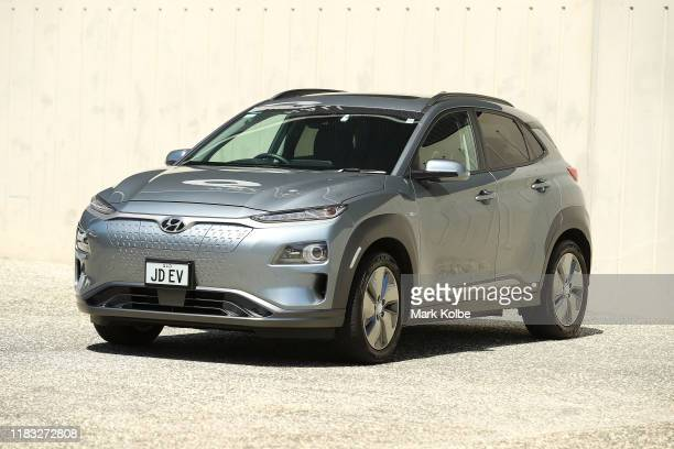 An Hyundai Kona Electric Highlander is seen at Sydney Olympic Park on October 25 2019 in Sydney Australia Electric vehicles are being bought in...