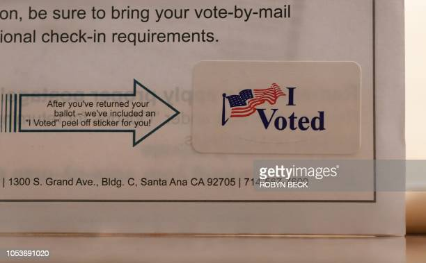 An I Voted sticker included in a mailin ballot package is seen at a Ballot Party at a private residence in Laguna Niguel in Orange County California...
