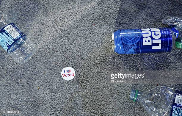 An 'I Voted' sticker sits near trash on the floor after an election night party for 2016 Democratic Presidential Candidate Hillary Clinton at the...