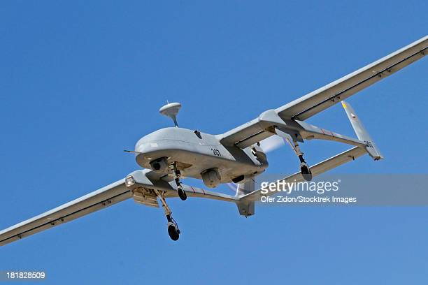 An IAI Heron unmanned aerial vehicle in flight over Palmachim Air Force Base, Israel.