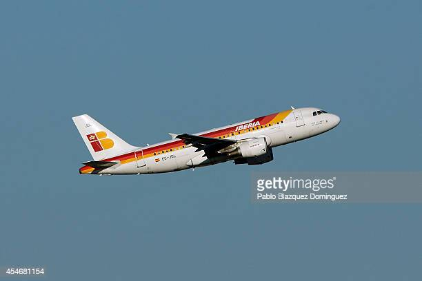 An Iberia airplane takes off from Adolfo Suarez Madrid Barajas Airport on September 5 2014 in Madrid Spain Iberia British Airway's partner in IAG is...
