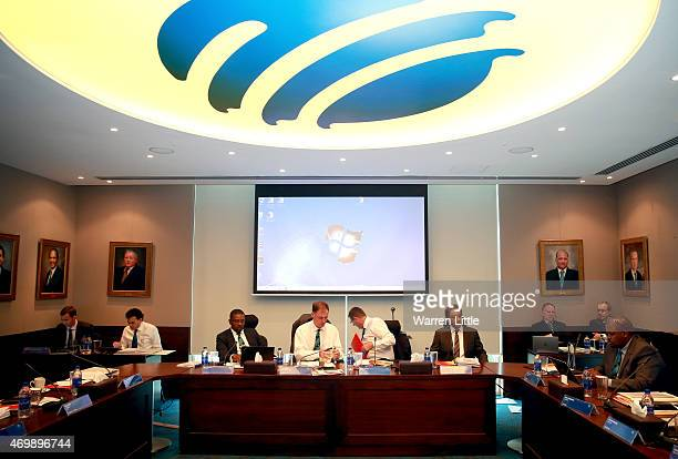 An ICC board meeting takes place at the ICC headquarters on April 16 2015 in Dubai United Arab Emirates
