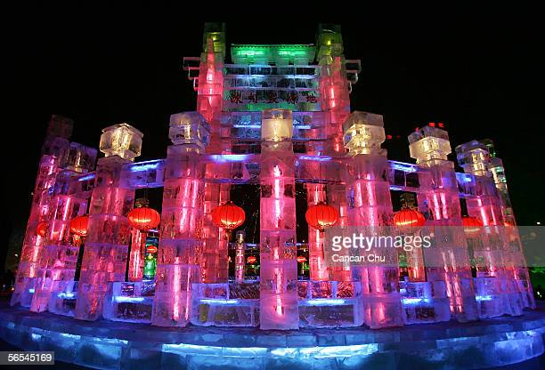 An ice building illuminated with lights is on display at the Zhaolin Park part of the 22nd Harbin International Ice and Snow Festival on January 9...