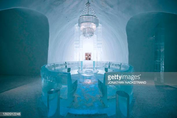 An ice chandelier hanging in the Main Hall of the Ice Hotel, designed by the artists Jens Thoms Ivarsson, Mats Nilsson and words by Petri Tuominen,...