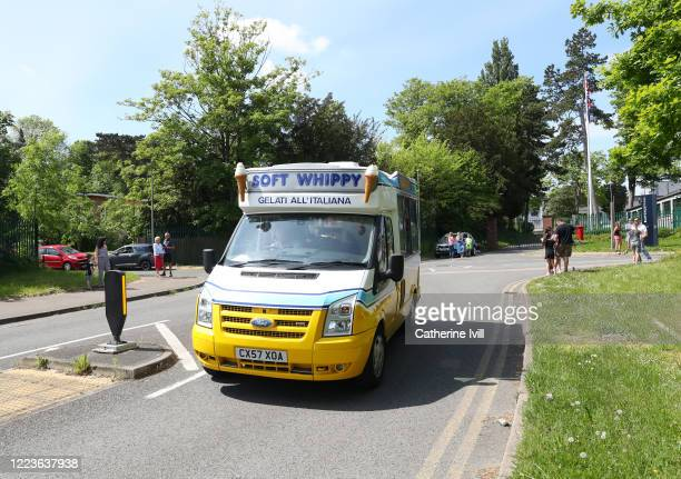 An Ice Cream van drives past Bletchley Park home of the codebreakers on May 08 2020 in Bletchley United KingdomThe UK commemorates the 75th...