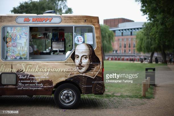 An ice cream van with a picture of William Shakespeare plys for trade near the Royal Shakespeare Company's theatre on the banks of the River Avon on...