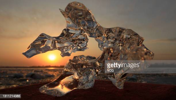 An ice floe is seen on the melting Songhua River on April 5, 2021 in Harbin, Heilongjiang Province of China. With the rise in temperatures in Harbin,...