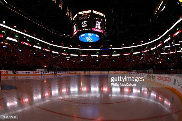 An ice level general view of Bell Centre is shown before the Boston Bruins game against the Montreal Canadiens on March 22 2008 in Montreal Quebec...
