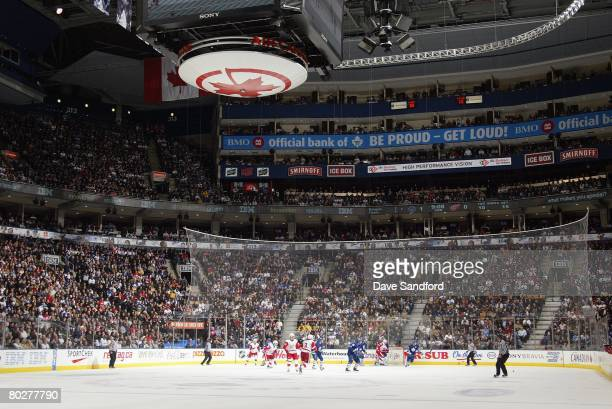 An ice level general view shows the Toronto Maple Leafs game against the Detroit Red Wings at the Air Canada Centre on February 9 2008 in Toronto...