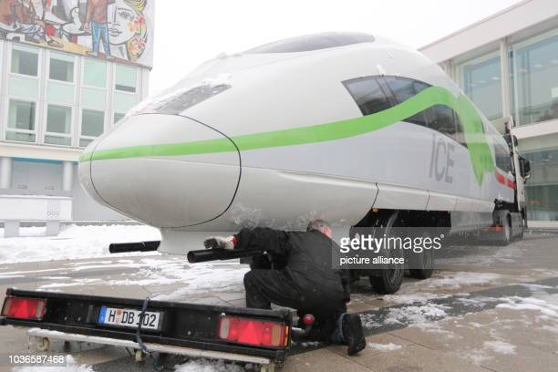 An ICE locomotive is displayed at the BCC for the the financial statements press conference at Deutsch Bahn in Berlin Germany 21 March 2013 Deutsche...