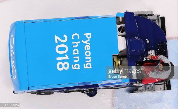 An ice resurfacing machine prepares for the Women's Ice Hockey Preliminary Round Group B game between Switzerland and Japan on day three of the...