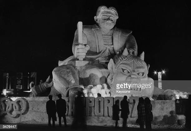 An ice sculpture at the 22nd Sapporo Snow Festival held in Odori Park on the island of Hokkaido Hapan Sapporo is an Olympic winter games site The ice...