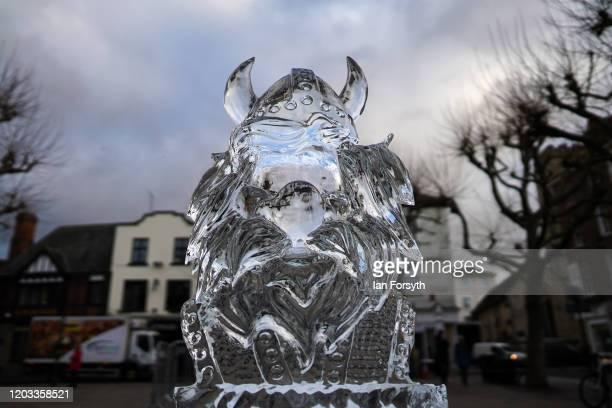 An ice sculpture in the shape of a Viking and celebrating the theme 'Fantastical Fiction and Fiction' forms part of the biggest outdoor ice trail in...