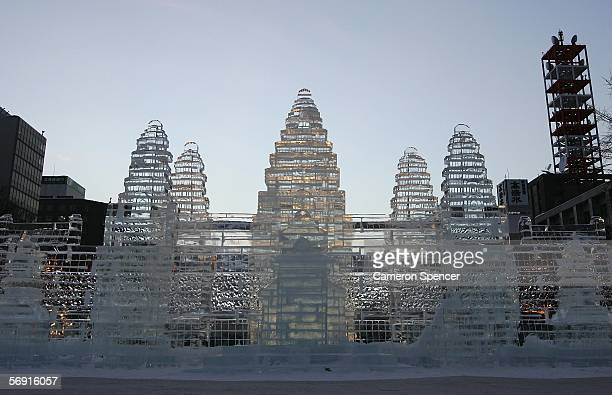 An ice sculpture is displayed at Odori Koen during the 57th Sapporo Snow Festival February 12 2006 in Sapporo Hokkaido Japan Two million people are...