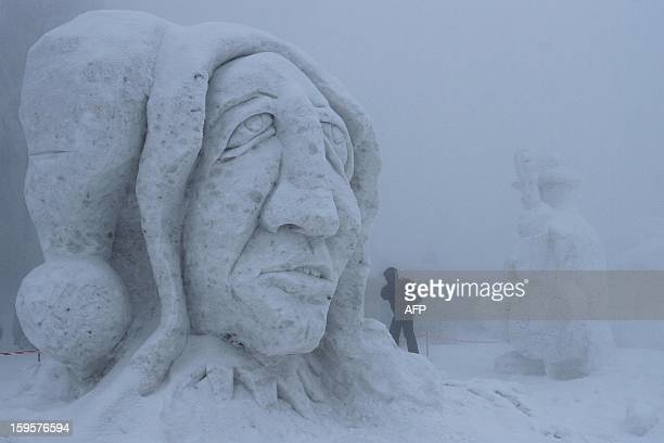 An Ice sculpture is pictured during the 15th International Sculpture Symposium 'Snow Kingdom 2013' in Pustevny Czech on January 16 2013 Regularly the...