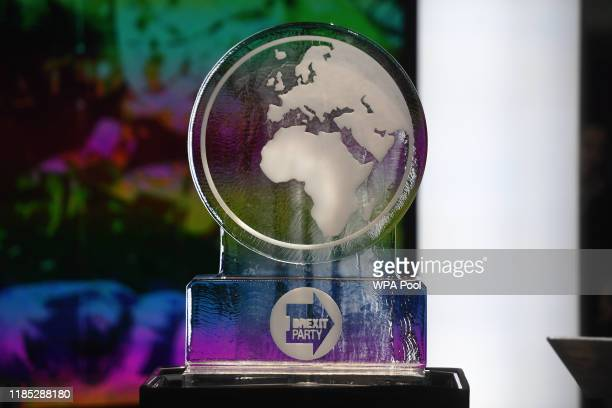 An ice sculpture is put in place for the Brexit Party in the studio before the start of the Channel 4 News' General Election climate debate at ITN...