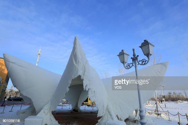 An ice sculpture is seen on display during 2017 Harbin International Ice and Snow Construction Festival at Maple Leaf Village on January 3 2018 in...