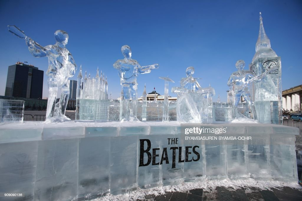 Ice sculptures of the Beatles set up in Ulaanbaatar to mark the 55th anniversary of diplomatic relations between Mongolia and UK