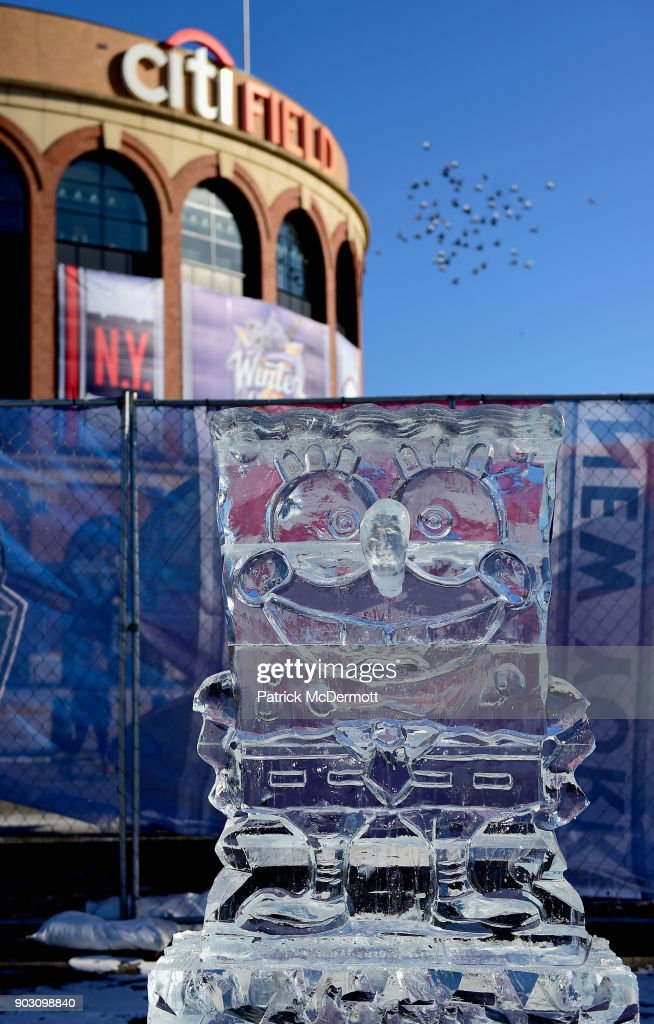 An ice sculpture of SpongeBob SquarePants is seen before the 2018 Bridgestone NHL Winter Classic between the New York Rangers and the Buffalo Sabres on January 1, 2018 in the Flushing neighborhood of the Queens borough of New York City.