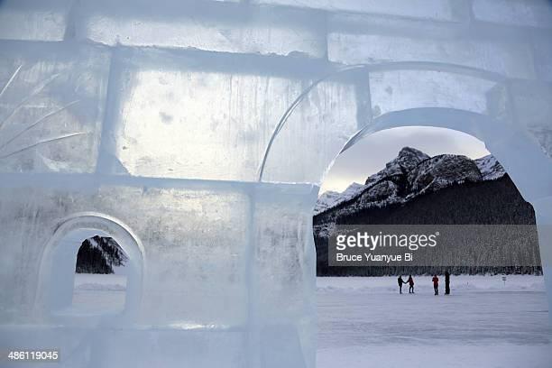 An ice sculpture on frozen Lake Louise