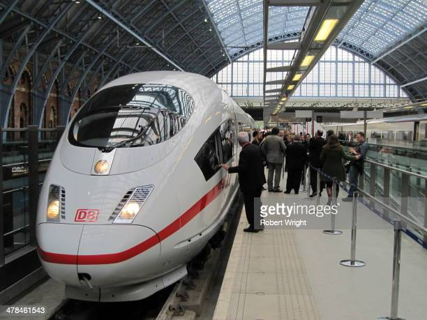 An ICE3 high-speed train operated by Germany's Deutche Bahn becomes the first German passenger train to reach London via the High Speed One rail link...