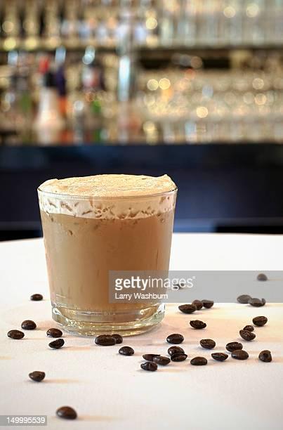 An iced coffee on a table