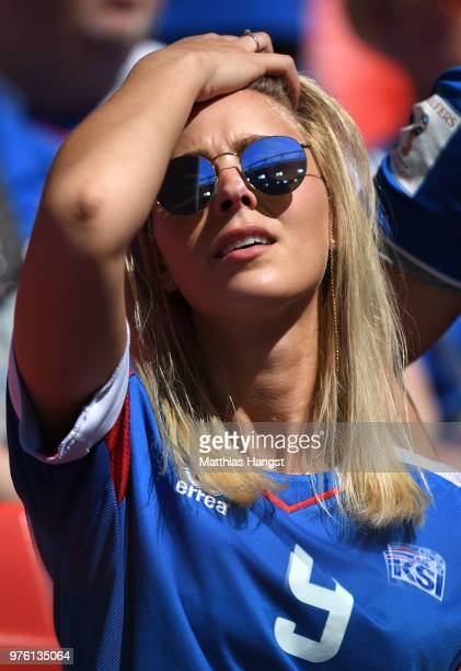 An Iceland fan enjoys the pre match atmosphere prior to the 2018 FIFA World Cup Russia group D match between Argentina and Iceland at Spartak Stadium...