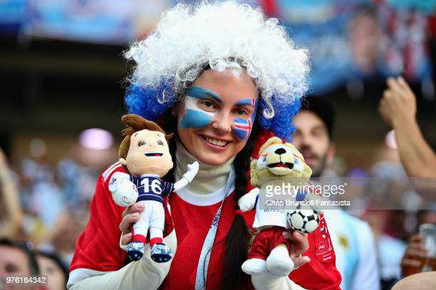 An Iceland fan looks on before 2018 FIFA World Cup Russia group D match between Argentina and Iceland at Spartak Stadium on June 16 2018 in Moscow...