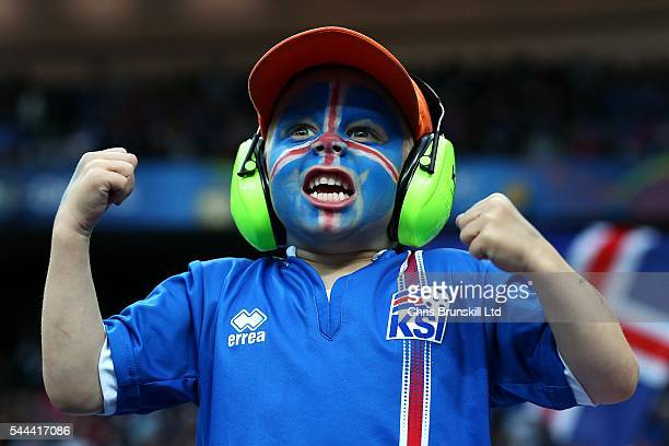 An Iceland fan supports his team during the UEFA Euro 2016 Quarter Final match between France and Iceland at Stade de France on July 03 2016 in Paris...