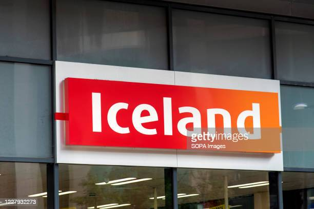 An Iceland Foods store logo in Bromley, London.