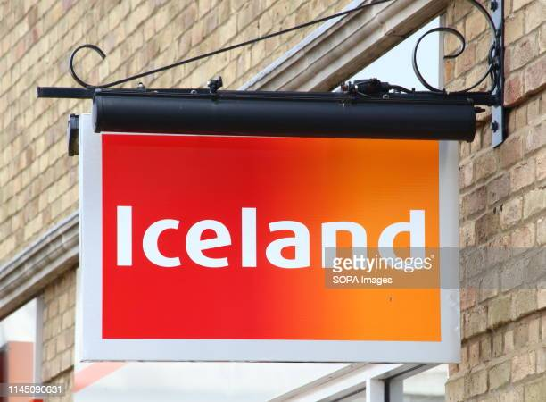 An Iceland store sign seen outside the store One of the Top Ten Supermarket chains / brands in the United Kingdom