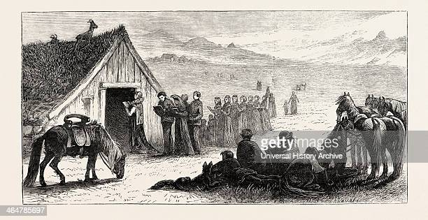 The Wedding Procession Iceland 1873 Engraving