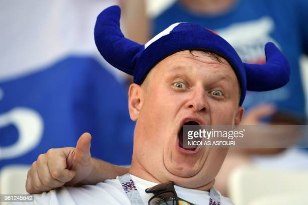 TOPSHOT An Iceland's supporter pose ahead of the Russia 2018 World Cup Group D football match between Nigeria and Iceland at the Volgograd Arena in...