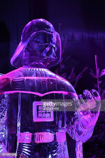 An icesculpture in the form of Star Wars character Darth Vader is displayed during the Star Wars Ice sculpture festival in Liege on December 16 The...