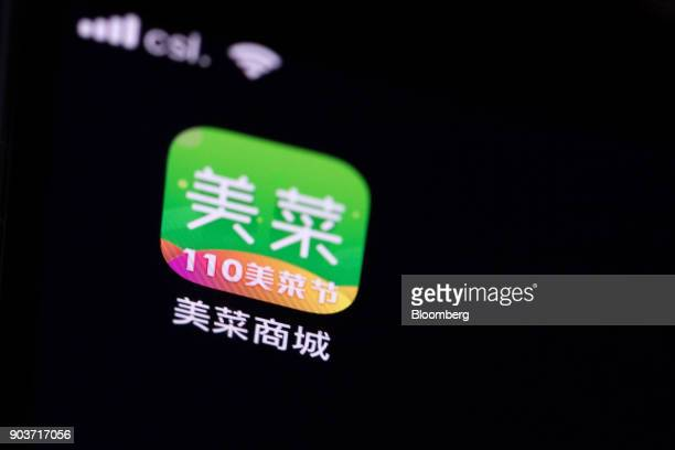 An icon for the Meicai application is displayed on a smart phone in an arranged photograph taken in Hong Kong China on Thursday Jan 11 2018 Meicai a...