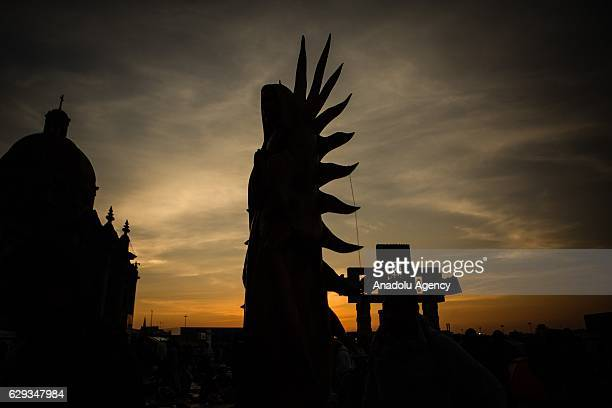 An icon of the Virgin of Guadalupe is seen during the pilgrimade to the Basilica of Guadalupe in the Day of the Virgin of Guadalupe in Mexico City...