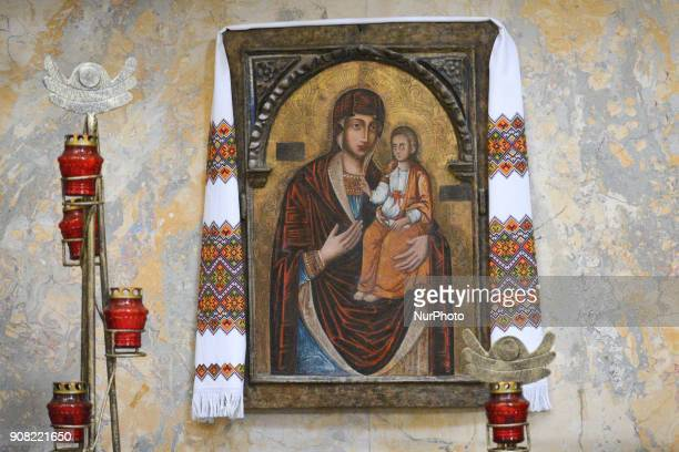 An icon seen during the 19th Christmas Festival 'Velyka Koliada' inside the former Dominican church and monastery in Lviv More than 70 different...