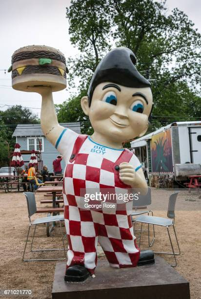 An iconic Bob's Big Boy restaurant mascot sculpture is displayed at a 6th Street food truck court on April 14 in Austin Texas Austin the State...