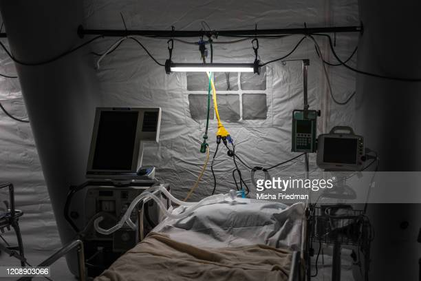 An ICU bed of a makeshift temporary hospital at Central Park East Meadow in New York City US on March 31 2020The Coronavirus pandemic has spread to...