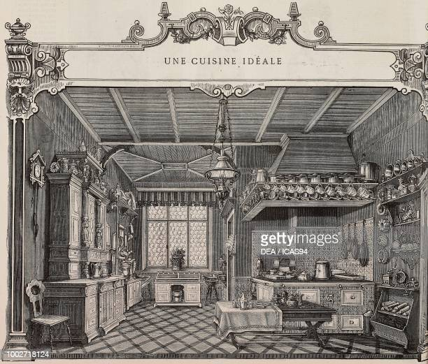 An ideal kitchen interior of a kitchen engraving from La Mode Illustree No 35 August 29 1880