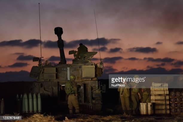 An IDF artillery unit near the Israel-Gaza border in Southern Israel, May 13, 2021.