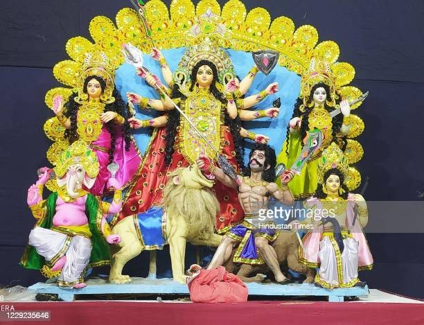 An idol of Goddess Durga at a puja pandal during the ongoing Durga festival, on October 22, 2020 in Varanasi, India.