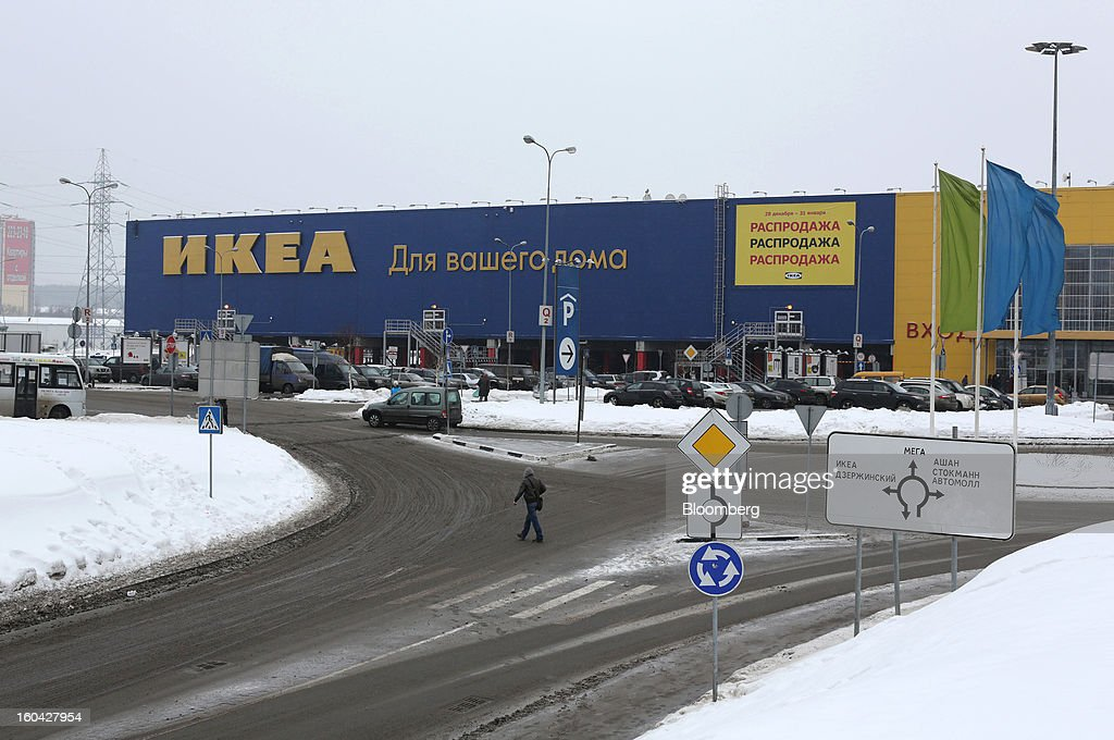 An Ikea Group store stands at the MEGA Belaya Dacha shopping complex, constructed by the real estate development arm of Inter Ikea Systems BV and one of Europe's largest malls, in Moscow, Russia, on Thursday, Jan. 31, 2013. Russian shopping-mall construction may climb to a record this year as retailers take advantage of rising sales by moving into bigger, more modern buildings, Cushman & Wakefield Inc. said. Photographer: Andrey Rudakov/Bloomberg via Getty Images