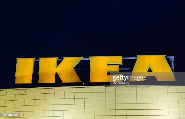 An Ikea logo sits illuminated against a dark sky outside the Ikea AB retail store in Khimki Russia on Monday Oct 3 2016 Ikea's Russia unit may spend...