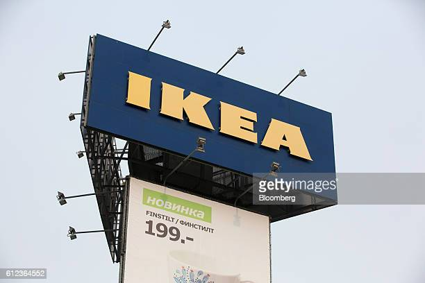 An Ikea logo sits on display above an advertisement outside the Ikea AB retail store in Khimki Russia on Monday Oct 3 2016 Ikea's Russia unit may...