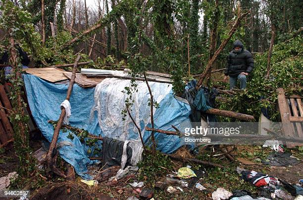 An illegal immigrants camp called 'the jungle' is seen in Calais France on Wednesday Jan 10 2007 French Interior Minister Nicolas Sarkozy points to...