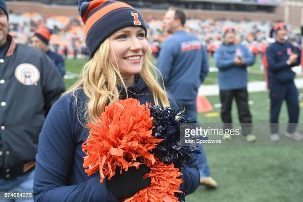 An Illinois cheerleader before a Big Ten Conference football game between the Indiana Hoosiers and the University of Illinois Fighting Illini on...