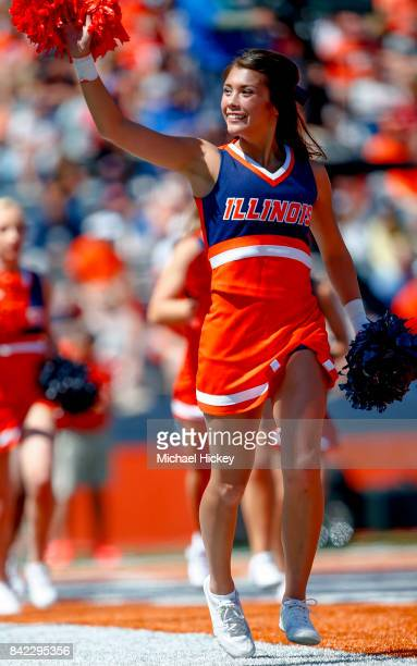 An Illinois Fighting Illini cheerleader is seen during the game against the Ball State Cardinals at Memorial Stadium on September 2 2017 in Champaign...