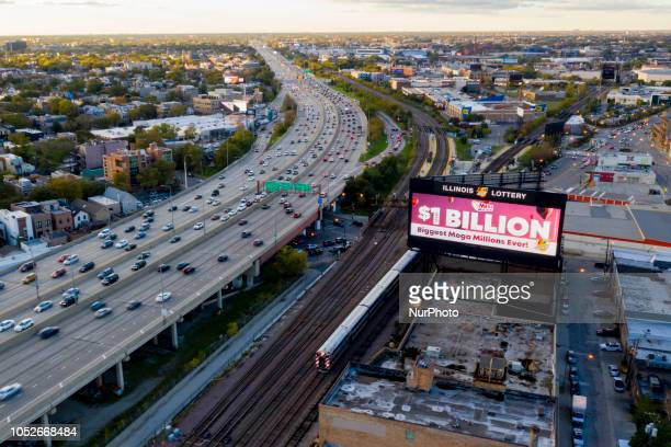 An Illinois Lottery billboard advertisement featuring the Mega Millions is seen on the northwest side along the I90 Kennedy Expressway in Chicago IL...
